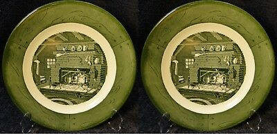 TWO Colonial Homestead Royal China Green Dinner Plates Fireplace Hearth Crazing