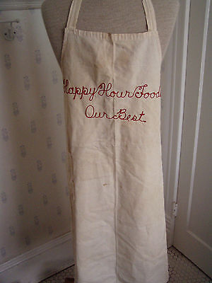 vintage grocery store apron Happy Hour Foods Bloomington IL Campbell Holton embr