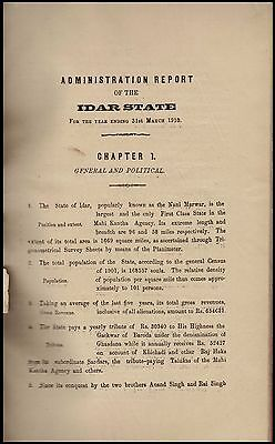 India Idar State Original Administration Report With Appendix Rarely Seen