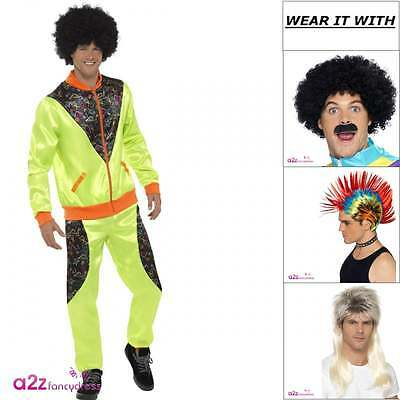 Mens Retro Shell Suit Neon Green Trackie 80s Adult Fancy Dress Costume Wig Tash