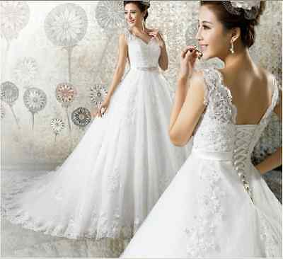 New White/Ivory Lace Wedding dress Bridal Gown Custom Size 4 6-8-10-12-14-16 +++