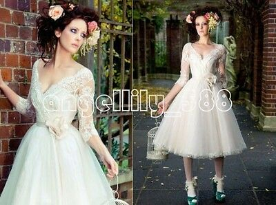 Short A Line V Neck Wedding dresses 3/4 Sleeve Bridal Gown with sash Custom size