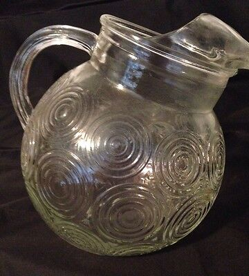 "Retro Round Tipped Ball Clear Glass Pitcher Art Deco Ice Lip Vintage 7.25 x 8""in"