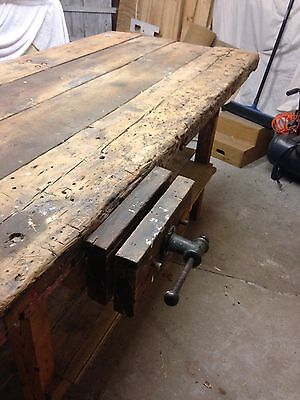 Rustic wooden workbench bench work table vintage industrial old shabby chic