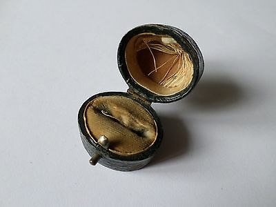 Small antique or vintage ring box black leather covering