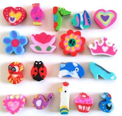 Bulk Lot x 25 Mini Novelty Erasers Assorted Styles New Kids Party Favors Toys