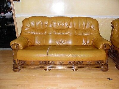 Hand Crafted Italian Leather And Wooden 3 Seater Sofa