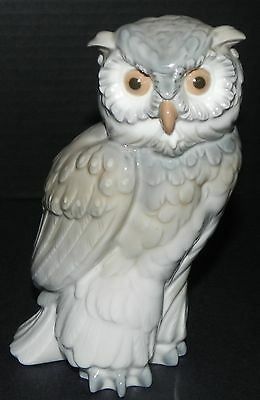 "Nao Lladro Eagle Owl Bird Figurine Hand Made in Spain 7"" Porcelain Vintage 1979"