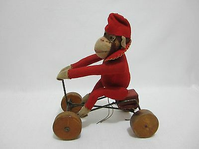 STEIFF Antique Record Peter Red Felt Monkey on Wheels 1913 Pull Toy
