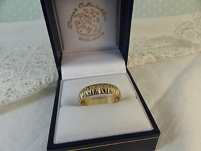 9ct 9carat Yellow Gold Patterned Wedding Band Ring. 5mm size 'P'