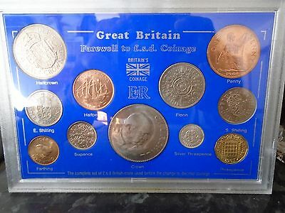 GB FAREWELL TO THE £sd SYSTEM PRE DECIMAL OLD MONEY 11 COIN GIFT SET