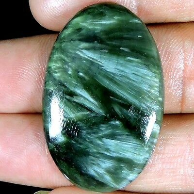EXCELLENT 37.10cts NATURAL SUPER FINE GREEN SERAPHINITE OVAL CABOCHON GEMSTONE