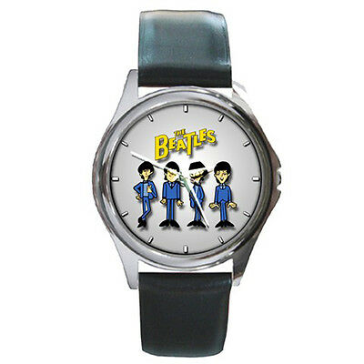 Memorable Gift Watch - The Beatles Cartoon Sport Black Leather Band Watch