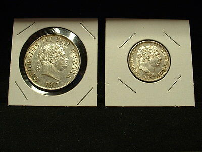 1817 Great Britain Silver Halfcrown & 1817 Shilling-Both Uncirculated Coins!!