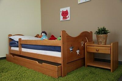 Nicolas Kids Toddler Bed Solid Wood With Mattress and Drawer OAK COLOUR