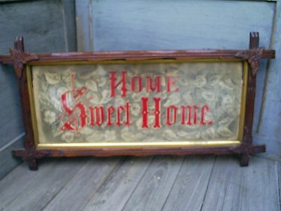 Antique Victorian HOME SWEET HOME Punch Paper Design Needlepoint Framed Sampler