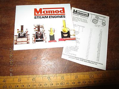 1978 colour Mamod Steam Engine Catalogue / sheet with Jan.1978 price list - VGC