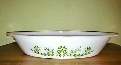 vintage 1960's GLASBAKE Divided OVAL VEGETABLE DISH avocado green flower design