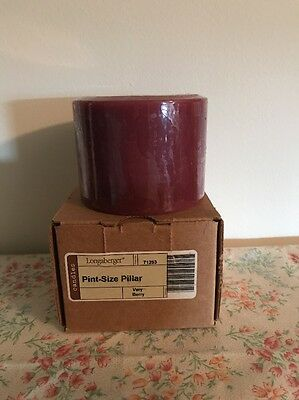Longaberger Pint Size Pillar Candle - Very Berry  - New