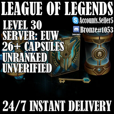 LOL Account League of Legends EUW Account lvl 30 Unranked 20,000+IP Unverified