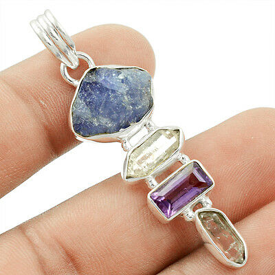 Amethyst & Herkimer Diamond 925 Sterling Silver Pendant Jewelry P-28493