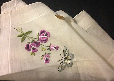 40's NWT Made in French Zone of Ausria Bridal Handkerchief Butterfly & Roses