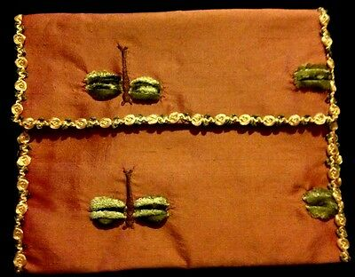 "1930-40's Lovely Hand Made Handkerchief Holder, Green Satin Lining, 9"" x 8"""