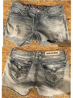 "Rock Revival SZ 30 ""KATE"" Cut Offs Shorts Flap Pocket Jean Shorts"