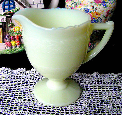 McKee Uranium Glass Creamer, McKee Custard Glass Depression Glass Laurel Leaf