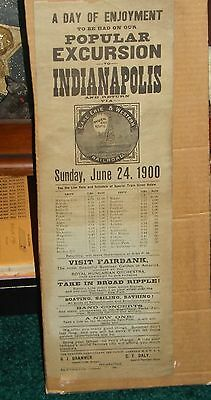1900 Lake Erie & Western Railroad RR Timetable Placard - Poster Type