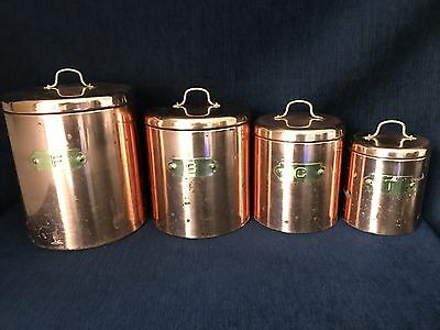 Copper Aluminum Kitchen Canisters With Brass Handles Set Of 4