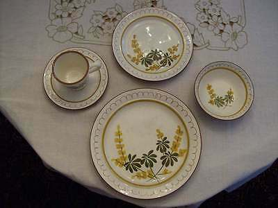 1 PLACE SETTING VINTAGE GOLDEN BLOSSOM 5 Pc DINNER B&B BOWL CUP SAUCER HP STANGL