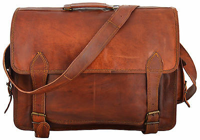 Men Real Goat Leather Vintage Brown Messenger Shoulder Laptop Bag 11''