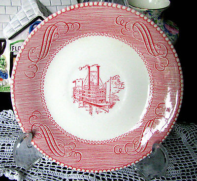 Royal China Low Water of the Mississippi Rob Rage Steamboat Red & White Saucer