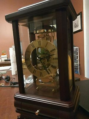 Mantel Shelf Clock Germany Mahogany Bevelled Glass Skeleton Vintage