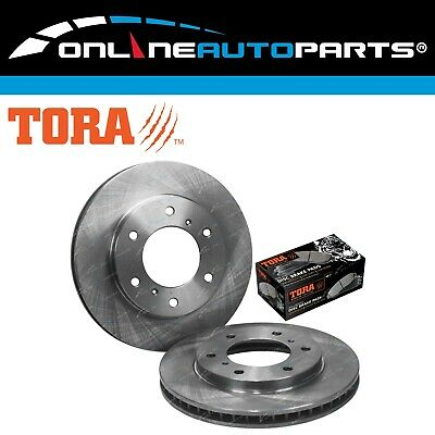 2 Front Disc Brake Rotors + Pads Set Mitsubishi Triton ML MN MQ 2007~18 RWD 4X4
