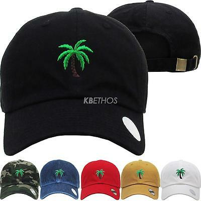 Palm Tree Embroidery Dad Hat Baseball Cap Unconstructed
