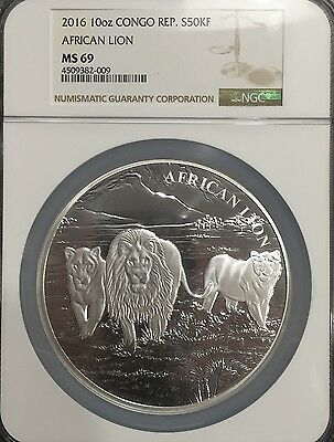 2016 MS69 Congo African Lion 10 Oz Silver Coin NGC Low Mintage