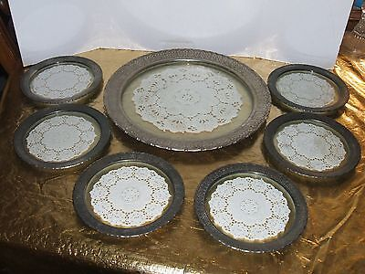 Lot Of 7 Sterling Silver (?) And Glass Trays