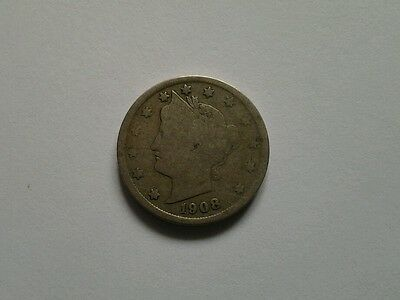 1908 USA US 5 Cents United States Nickel Coin