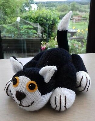 Soft & Cuddly Brand New Hand Knitted Black & White Cat / Kitten Soft Toy