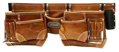 "Professional Double Nail Tool Pouch Belt Oiled Leather Hammer Waist 37""-47"""