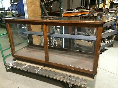 """Antique Oak Display Case 6' Long With Sliding Back Door ,  Glass Top ,40"""" Tall"""