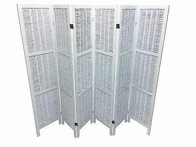 White 6 Panel Wooden Slat Wicker Room Divider Home Privacy Screen/Partition