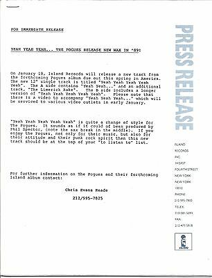 The Pogues, RARE official record company press kit, 1989, 17 pages of clippings