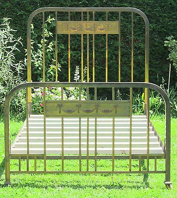 French Brass with Iron Art Deco Small Double Bed with Pine Base
