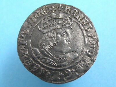 HAMMERED - KING HENRY VIII - SILVER GROAT COIN - Second Coinage - GOOD GRADE
