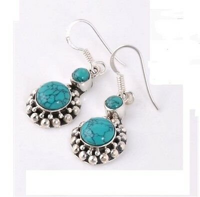 Natural Turquoise 925 Sterling Silver Gemstone Earrings + Free Gift Box