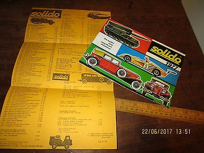 1977 colour Solido diecast catalogue in VGC with pricelist . Unusual box sets
