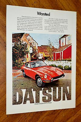 Gorgeous 1972 Datsun 240-Z In Red Ad / Classic Vintage 1970S Japanese Auto